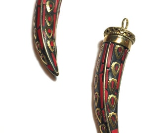 Red Coral Horn Pendant. Pendant. Horn. Red Coral