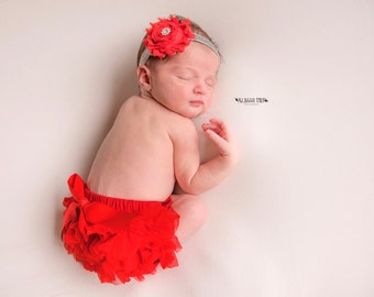 VALENTINES SET~Red Bloomer set with Bow,  baby headband and chiffon ruffle diaper cover, red and silver baby set, christmas set..