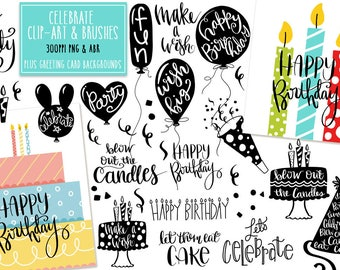 Hand Lettered Celebration Sayings & Clip Art Plus digital brushes, png + abr, INSTANT DOWNLOAD Photoshop Brushes, CU, Card Making, Birthday