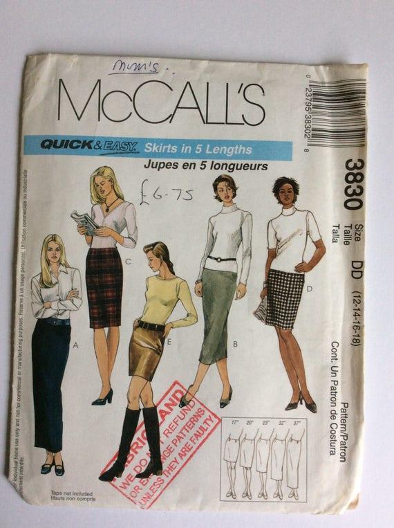 McCall Muster 3830 DD Rock Nähen Schnittmuster Größen