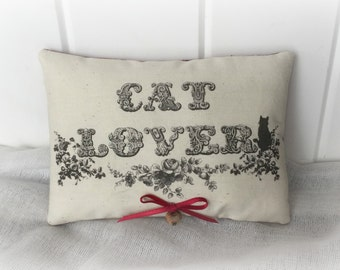 Cat Lover Primitive Pillow | Cat Pillow | Victorian Cat pillow