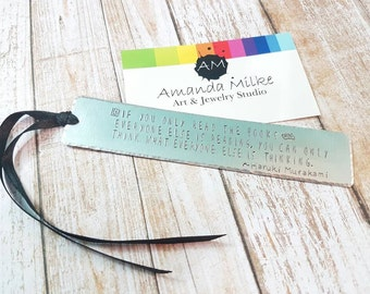 Personalised Bookmark Hand stamped Book mark reading quote