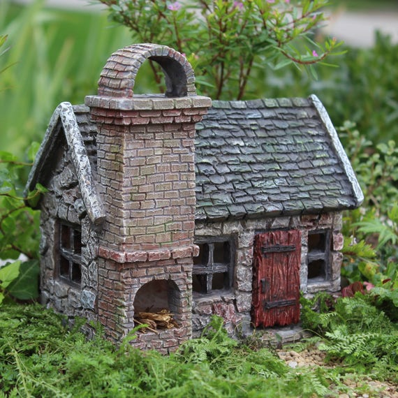 Stoneybrook Cottage with Hinged Door and Fire Place for the Fairy Garden