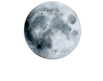 Moon Print, Watercolor Painting, Lunar, Nature Art, Minimalism, Moon, Space, Night Sky, Full Moon, Home Decor, Room Decor, Illustration