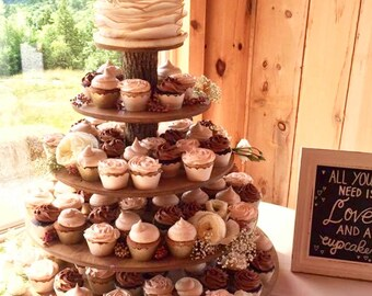 Rustic Cupcake Stand 5 Tier (Tower Holder) 120 Cupcakes 250 Donuts for Wedding, Birthday, Shower, Anniversary, Party, Pastries - Wood Wooden