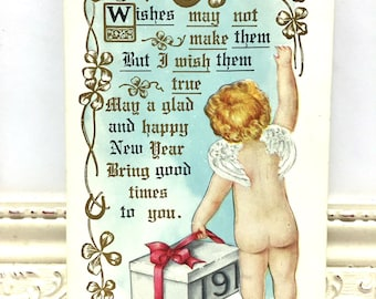 Vintage New Year's Postcard, Vintage Postcard, New Year's Card, New Year Ephemera, Baby New Year with Angel Wings and a Bare Bottom
