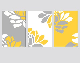 Floral Trio - Set of Three 11x17 Prints - Modern Wall Art - Choose Your Colors - Shown in Yellow, Gray, and White