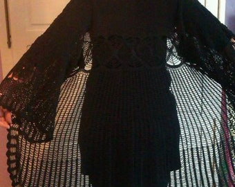 Chic cardigan - black Pilgrim ceremony tricky lace crochet women T44