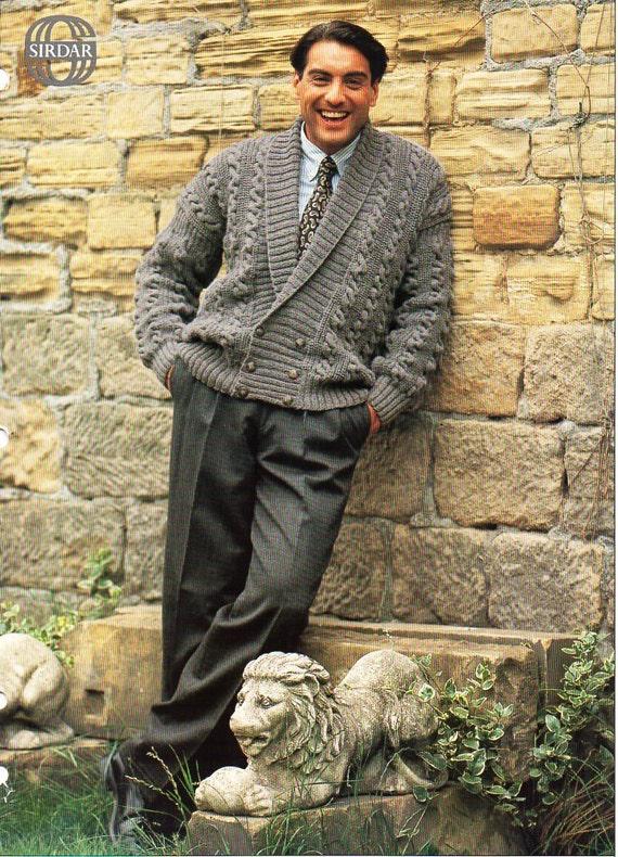 Mens Aran Jacket Knitting Pattern Pdf Mens Aran Cardigan Shawl