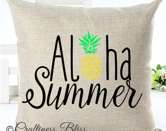 Aloha Summer Pineapple  Pillow Cover Decorative Throw Pillow Case Cover