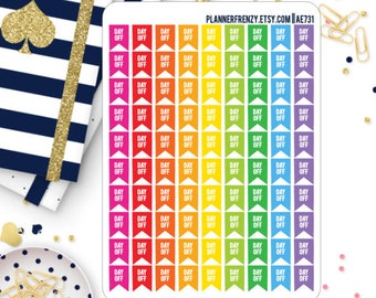 90 Mini Day Off Flag Planner Stickers! AE731