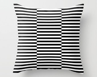 36 colours, Triple Offset Stripe Pattern pillow, Black and White, Offset Striped pillow, Indoor or Outdoor, includes Faux Down Insert