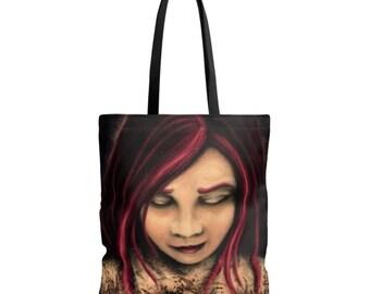 Handbag art print - portrait girl red hair - art bag Gothic tote bag - printed digital painting free shipping
