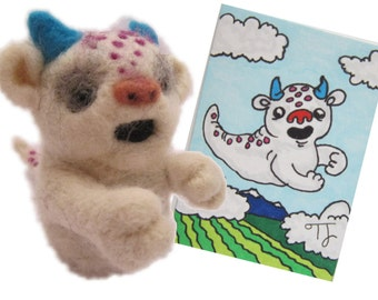 Floatsy the needle felted monster , needle felted miniature with ACEO, ATC Artists Trading Card, needle felted animal, miniature animal
