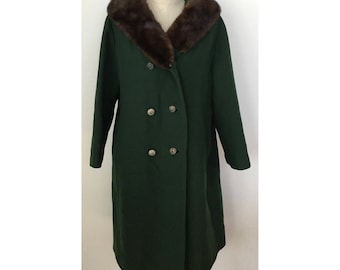 Vintage Green Wool with Mink Collar Winter Coat