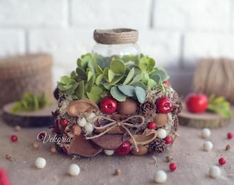 Floral Arrangement, Composition, Candlestick, Table decoration, Christmas Floral Arrangement, Floral Candlestick, Floral decor