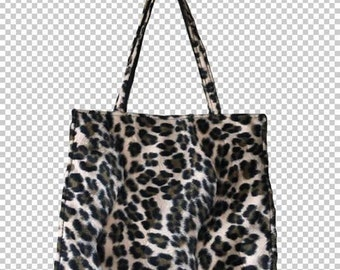 90s Fuzzy Leopard Boxy Purse // 1990s Funky Animal Print Faux Fur Furry Handbag