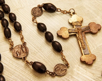 Antique Black French Wooden Rosary