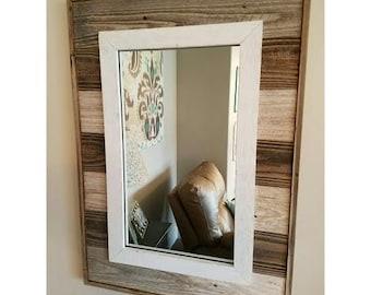 Rustic Slat Mirror w/outside Edge