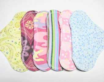 7 1/2 inch Flannel Leak Proof Reusable Cloth Pads - Set of 6 - Customize Your Set