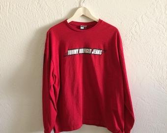 Vintage Tommy Hilfiger Jeans Spellout Longsleeve T Shirt