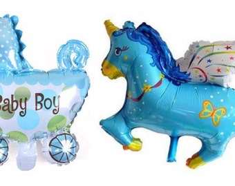 "set balloon: ""Baby boy"" + ""Unicorn"""