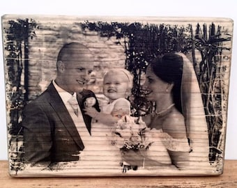 Wooden photo print freestanding A4 size gifts, wedding gift, shabby chic, handmade, personalised.