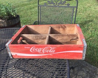 Vintage Coca Cola Wooden Crate, Coke Pop Case, Old Red White Paint, Wood with Dividers, Rustic Kitchen Porch Farmhouse