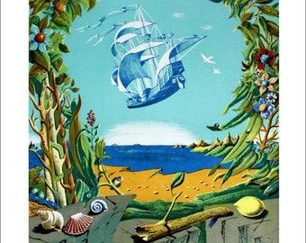 George Spiro - Fantastic boat - original lithograph