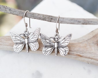 Sterling Silver Butterfly Dangle Earrings, Sterling Silver Moth Dangle Earrings, Insect Earrings, Insect Jewelry, Sterling Butterfly
