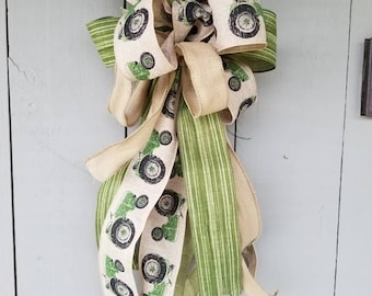 Beautiful Large Green Tractor Bow for wreaths, mailboxes, and more!