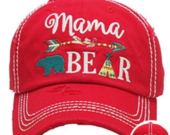 Red Mama Bear Aztec Arrow Embroidered Hat