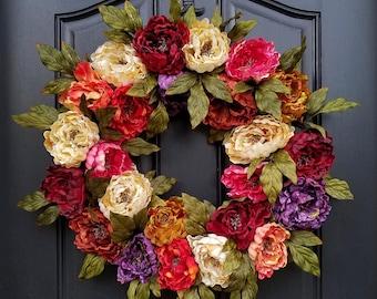 Spring SALE l Front Door Wreaths l Spring Wreath l Colors of Spring l Giving Wreath l Door Wreath l Spring Decor l Spring Peony Wreath