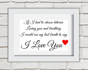 If I Had To Choose Framed Quote Print Mounted Word Art Wall Art Decor Typography Inspirational Quote Home Gift