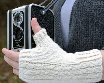 Fingerless Gloves Knitting PATTERN PDF, Knitted Fingerless Gloves Pattern, Fingerless Mitts Knitting Pattern - Midwinter Stroll Mitts