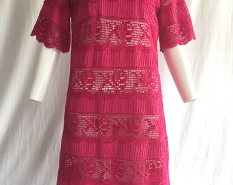 Hot Pink Vintage Mexican Wedding Dress