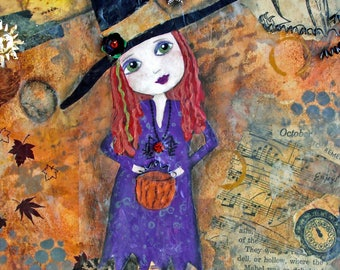 OCTOBER to REMEMBER, Witch, Halloween Decor, Cute Witch, orange hair, Holiday decor, Autumn, Fall, art, Wall Decor, Art Print, Mixed media