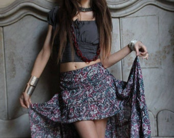 Asymmetrical Gypsy Crepe Skirt