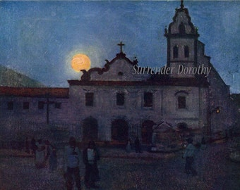Moonrise In Santos Lithograph By A S Forrest 1910 Buenos Aires, Argentina Lithograph To Frame