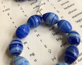 Blue glass beads Vintage swirl beads Cobalt blue and white stripped 4th of July Beads