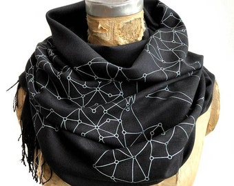 Blockchain Scarf, Crypto Distributed Decentralized Network Visualization Linen-Weave Pashmina. Blockchain finance internet digital currency
