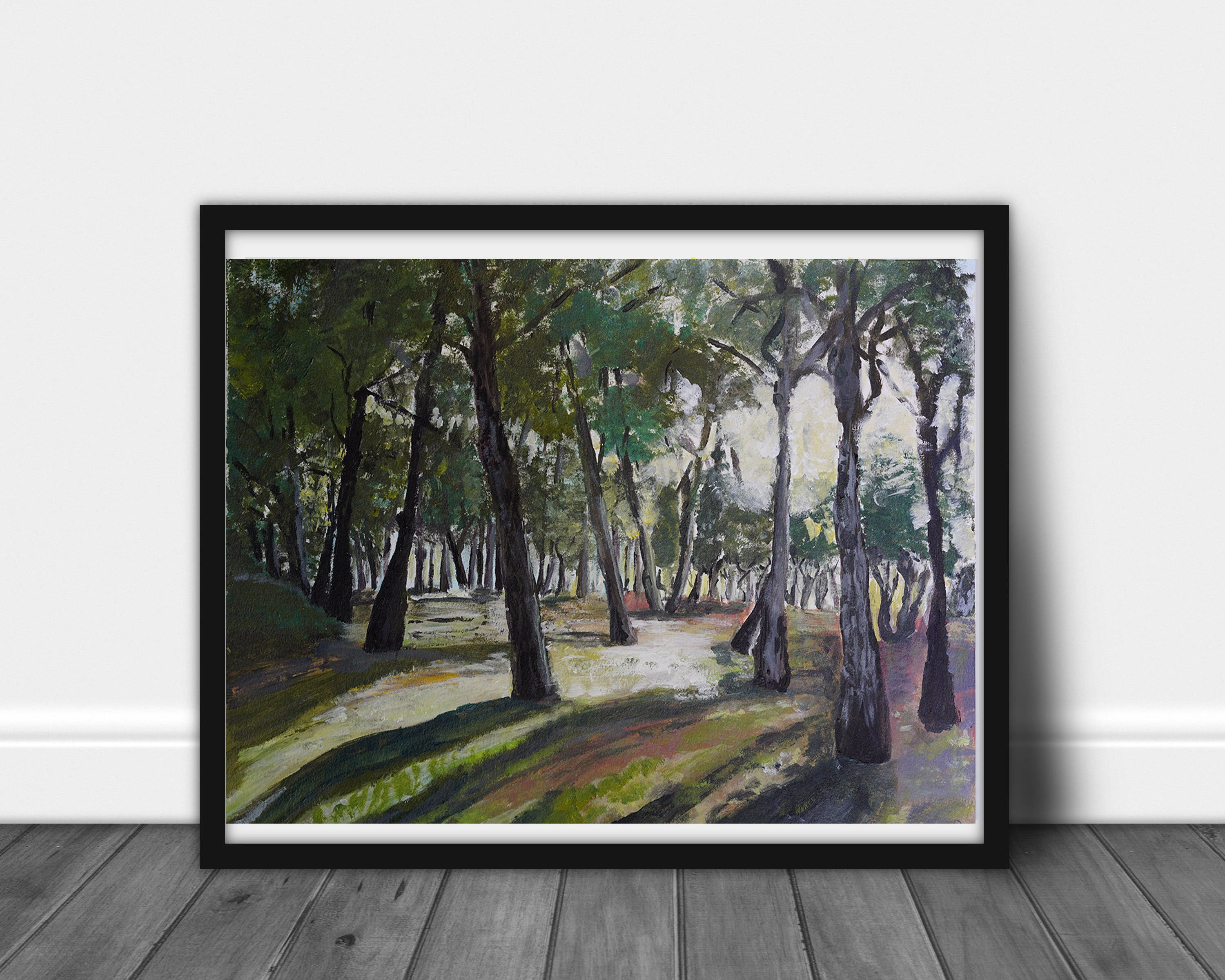 Trees painting Modern wall art, nature Painting Contemporary Art, forest Painting, Large Wall Art Living room trees art