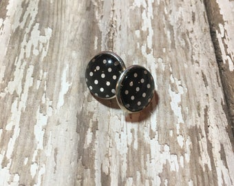 Black with White Dots Stud Earrings | FREE SHIPPING |