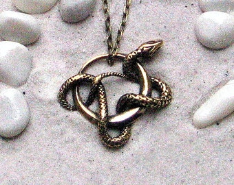 Viper necklace etsy snake serpent pendant viper necklace snake ring magic gift bronze handmade pendant with chain mozeypictures Image collections