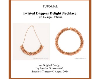 Beading Tutorial, Twisted Daggers Delight Necklace, Two Versions. Beadweaving Instructions, Beadwork Jewelry Instant Download PDF File