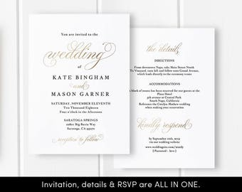 Printable Wedding Invitation Template, Wedding Invitation Front Back, All in One Wedding Invite, Download, Modern, Faux Gold #SPP018wi1
