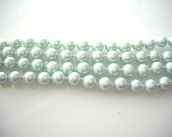 Mint green pearl string, pearl beads, discount SALE beads 6mm pearl beads ~100 beads
