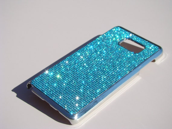 Samsung Galaxy Note 5 Aquamarine Blue Rhinestone Crystal, Silver Chrome Case. Velvet/Silk Pouch Bag Included, Genuine Rangsee Crystal Cases.