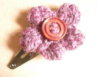 Hair Flower, Purple Knitted Hair Clip