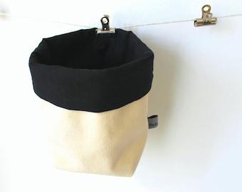 Fabric bucket beige and black Fabric bin Desk storage Hanging storage Scandinavian design Swedish design cotton